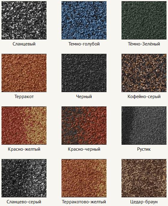 Цветовая гамма композитной черепицы Metrotile (Метротайл)